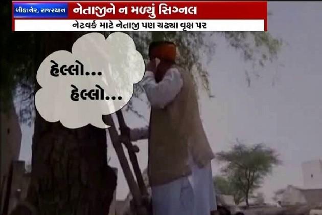 આ છે ડિજીટલ ઇન્ડિયા!,નેતાજીને ન મળ્યુ સિગ્નલ, ઝાડ પર ચઢવું પડ્યુ